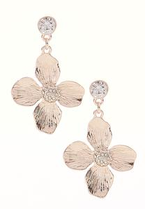 Rose Gold Flower Dangle Earrings
