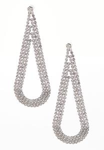Rhinestone Tear Chandelier Earrings