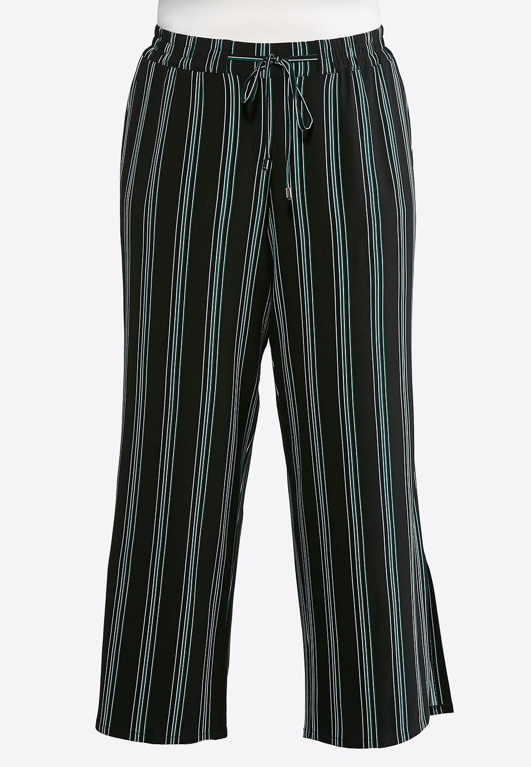 Plus Size Stripe Tie Front Palazzo Pants
