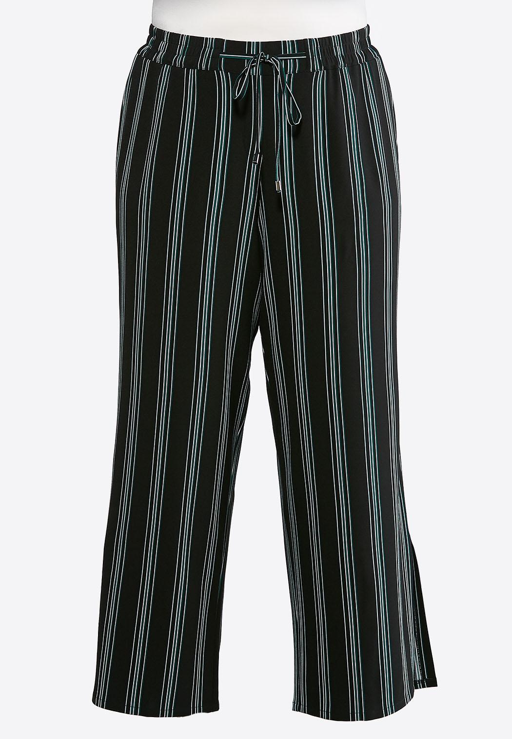 df9fde36fe2d45 Plus Size Stripe Tie Front Palazzo Pants Wide Leg Cato Fashions