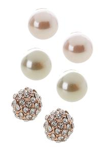 Rhinestone Pearl Ball Earring Set