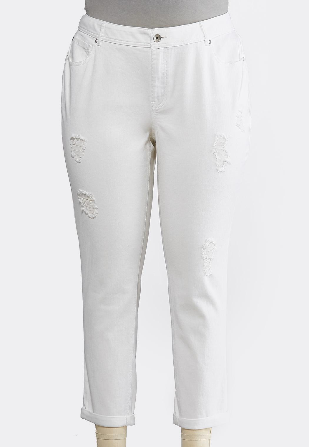 Plus Size Curvy White Distressed Jeans