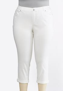 Plus Extended Cropped White Jeans