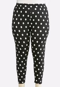 Plus Size Cropped Polka Dot Leggings