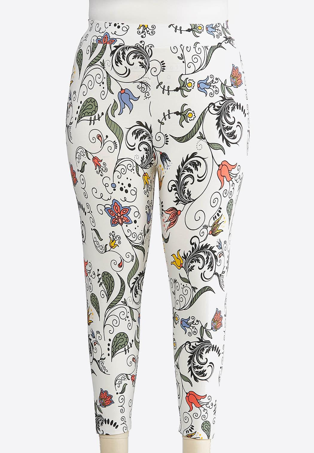 Plus Size Cropped Swirly Floral Leggings