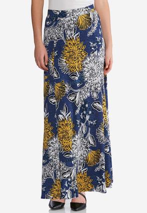 Plus Size Puff Floral Maxi Skirt