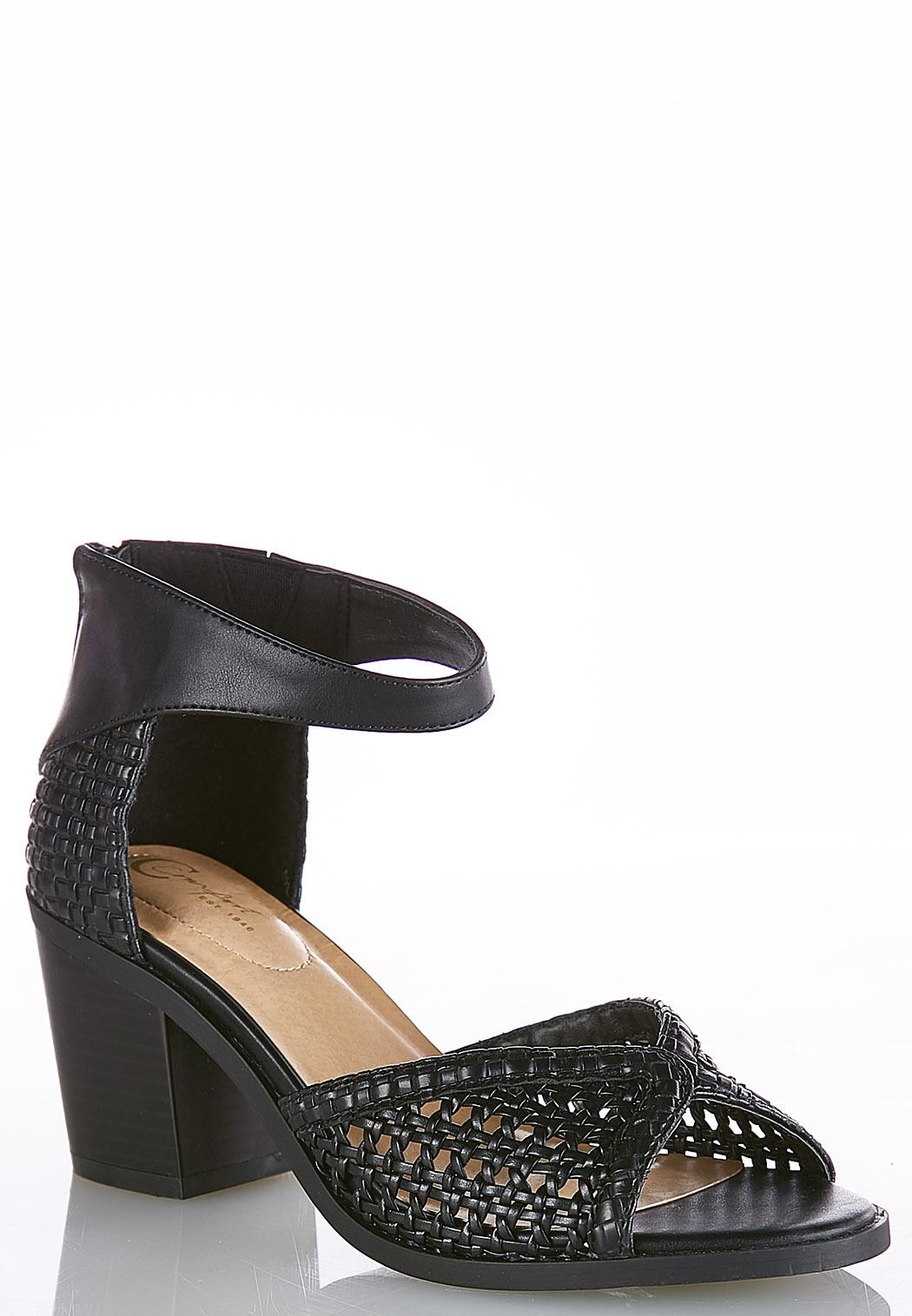 Woven Chunky Heeled Sandals
