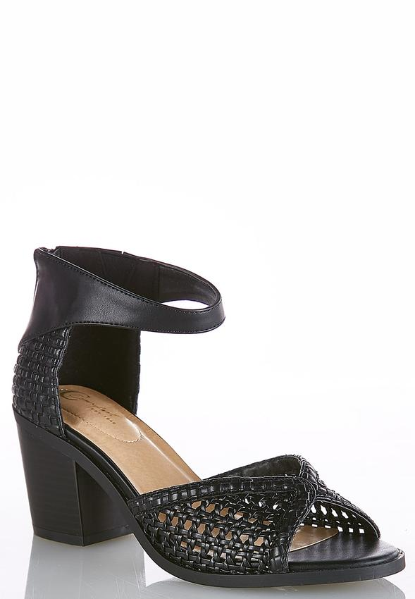 Woven Chunky Heeled Sandals alternate view Woven Chunky Heeled Sandals