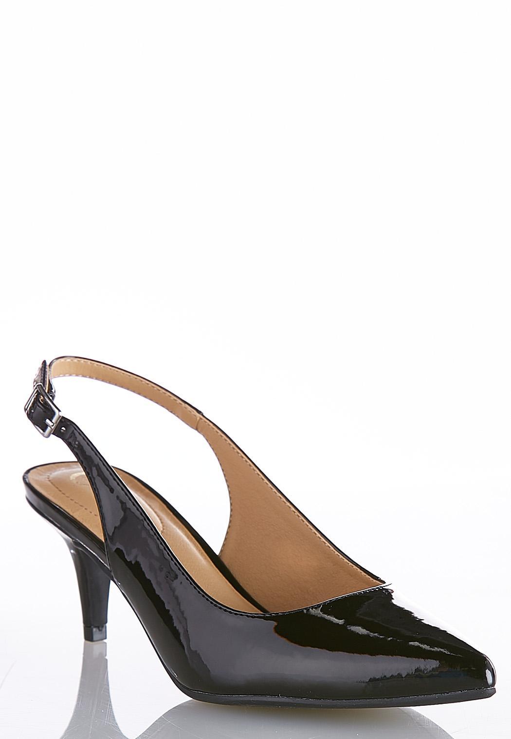 24deb82cbe5 Wide Width Patent Slingback Pumps Heels Cato Fashions