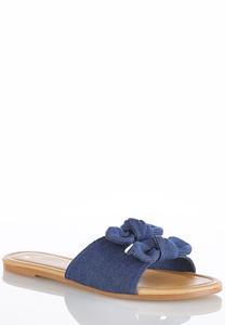Double Bow Denim Sandals