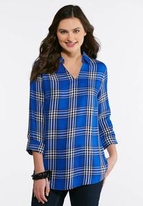 Plus Size Blue Plaid Top