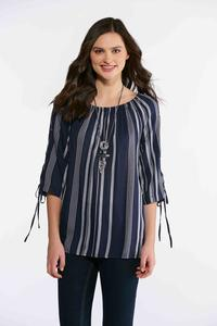 Plus Size Navy Stripe Poet Top