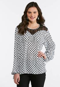 Plus Size Lace Yoke Tie Sleeve Blouse