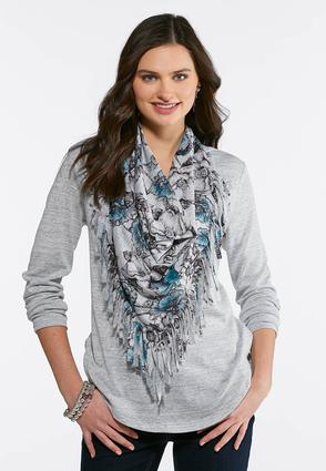 Hacci Top With Removable Scarf