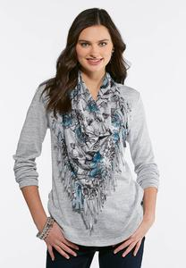 Plus Size Hacci Top With Removable Scarf