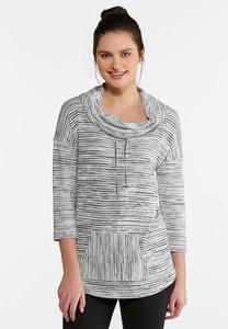 Plus Size Stripe Cowl Neck Top
