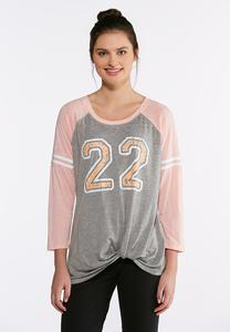 Plus Size Knotted 22 Raglan Tee