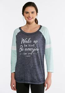 Plus Size Wake Up Be Kind Raglan Tee