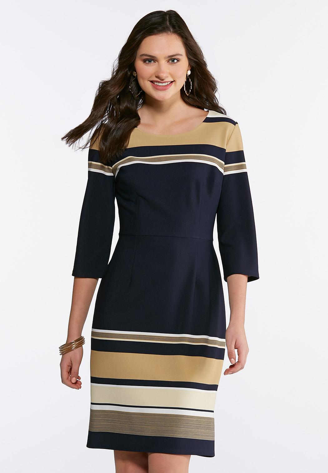 12215cc32eff6 Plus Size Neutral Stripe Sheath Dress Midi Cato Fashions