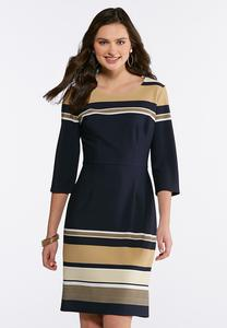 Plus Size Neutral Stripe Sheath Dress