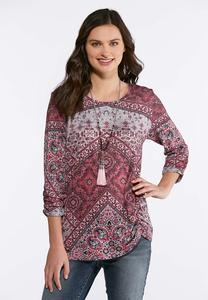 Pink Embellished Hacci Top