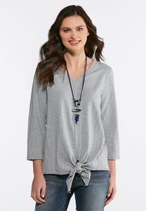 Tie Front Gray Heather Knit Top