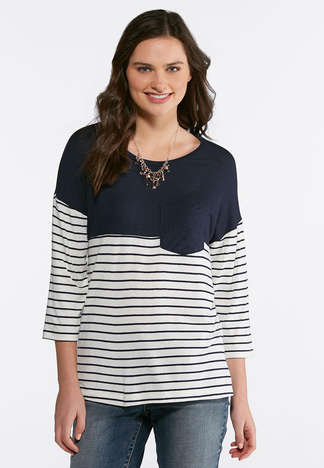 ac082bfc003c3 Pocket Front Navy Striped Top Tops Cato Fashions