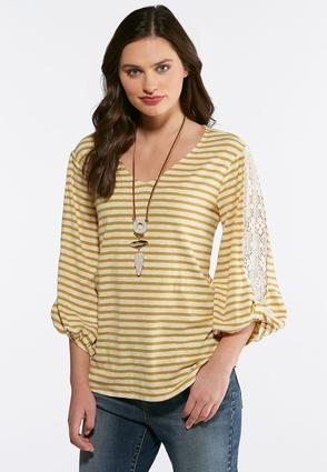 Mustard Striped Lace Sleeve Top