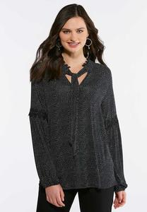 Tie Neck Lace Trim Dotted Top