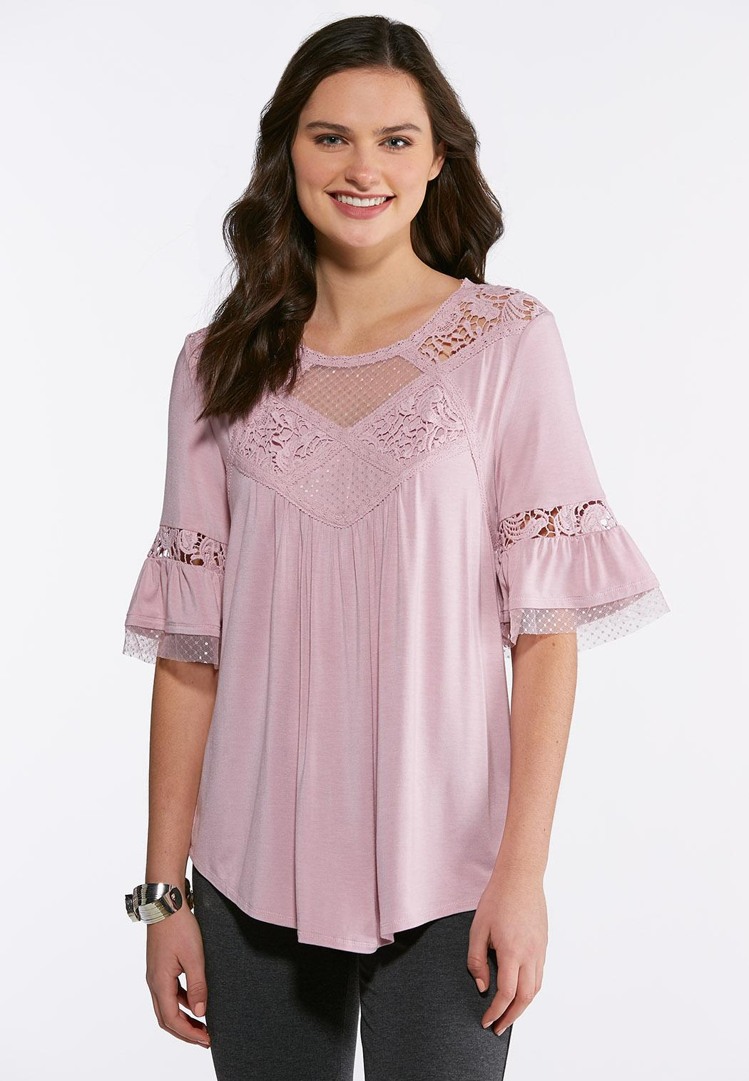 Plus Size Mesh Lace Poet Top Tees Knit Tops Cato Fashions