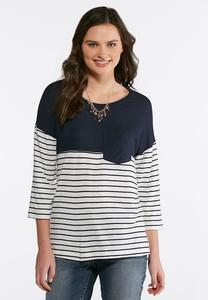 Plus Size Pocket Front Navy Striped Top