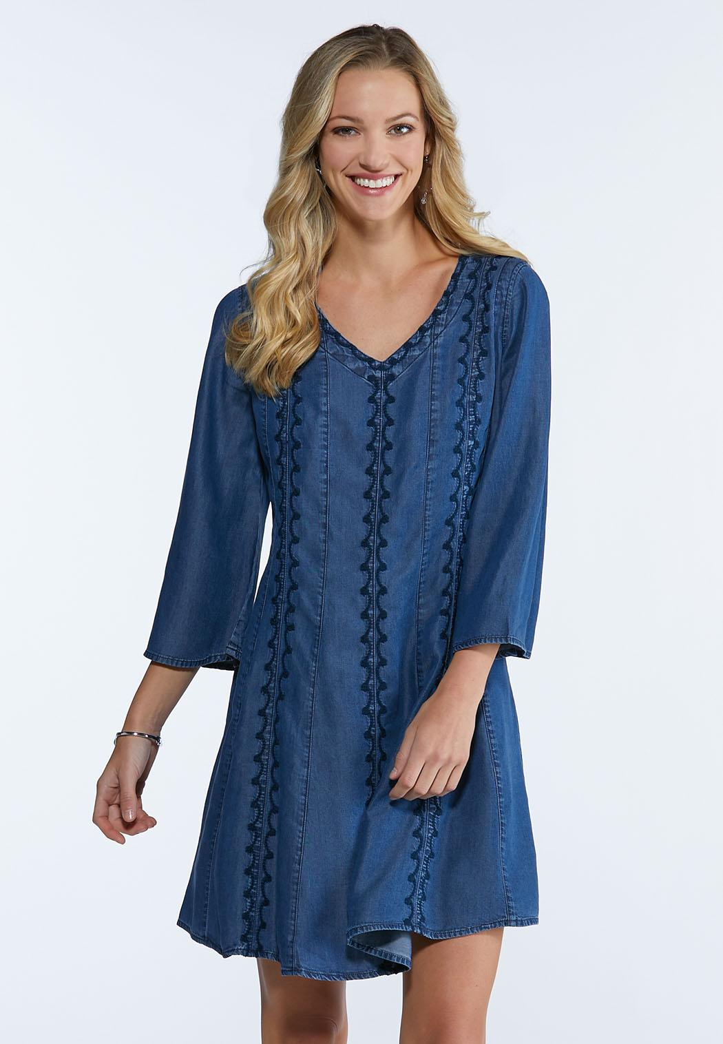 Plus Size Embroidered Chambray Dress A Line Swing Cato Fashions