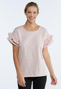 Plus Size Marled Ruffled Tee