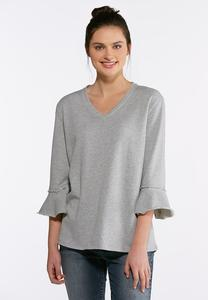 Plus Size Casual Flounced Sleeve Top
