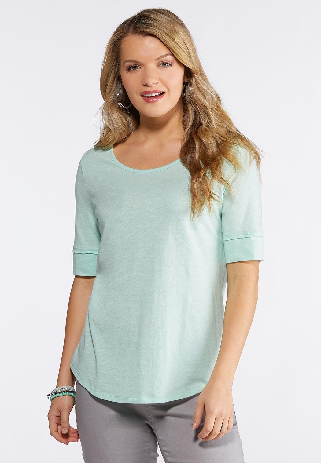 25f30ded Elbow Length T Shirt Plus Size   Top Mode Depot