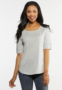 Plus Size Elbow Sleeve Solid Tee