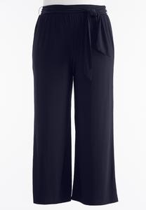 Plus Size Belted Knit Palazzo Pants
