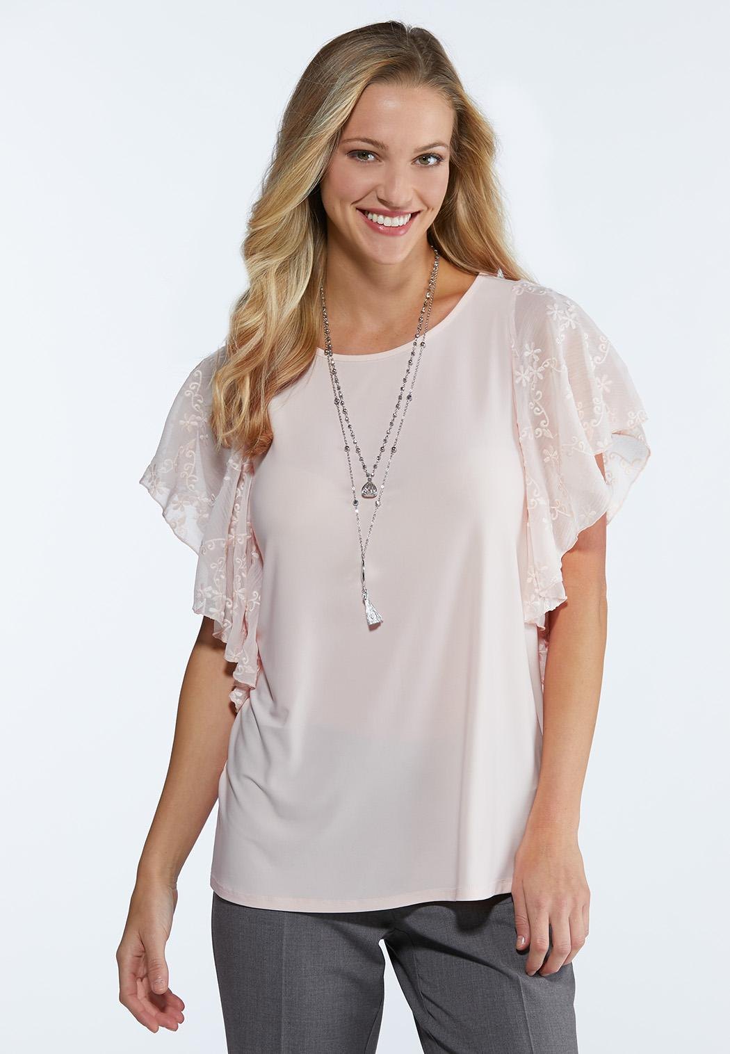 3e9acde9e Embroidered Flutter Sleeve Top Tees   Knit Tops Cato Fashions