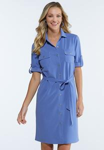 Plus Size Tie Waist Shirt Dress