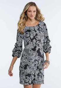 Plus Size Textured Bubble Sleeve Dress