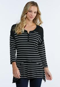 Black And White Stripe Henley Top