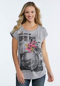 Plus Size Floral Bicycle Tee