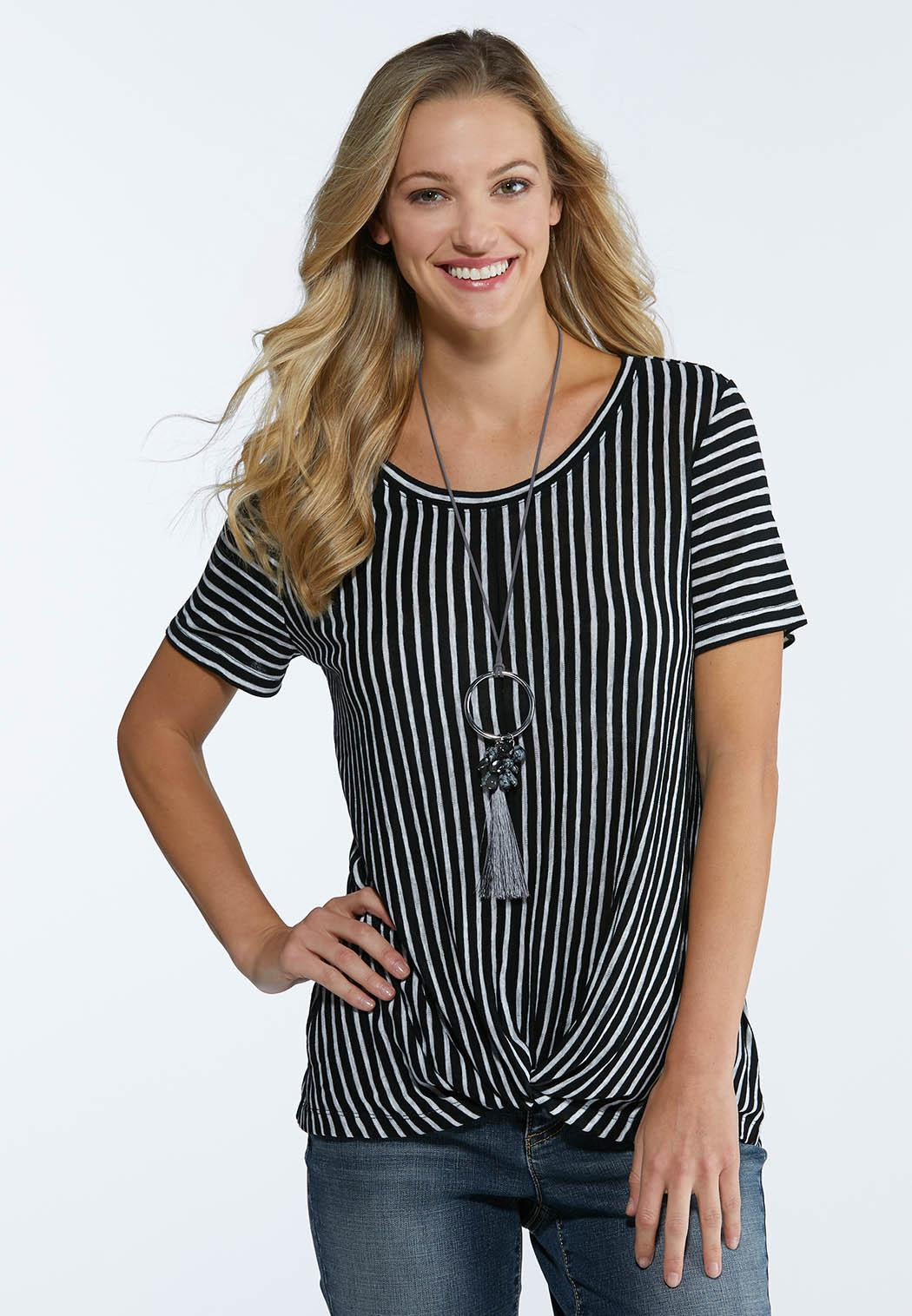 061b024834453 Plus Size Stripe Twisted Top Tees   Knit Tops Cato Fashions