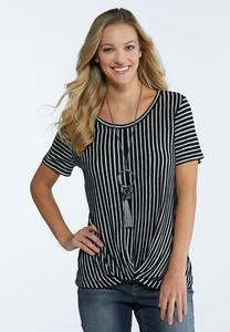Plus Size Stripe Twisted Top