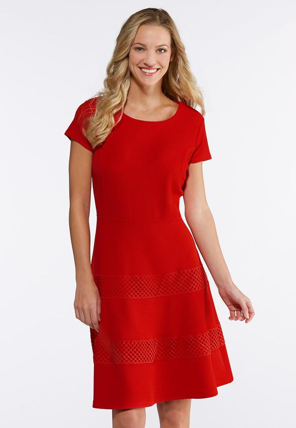 Plus Size Red Textured Fit And Flare Dress A-line   Swing Cato Fashions cbdc0be66