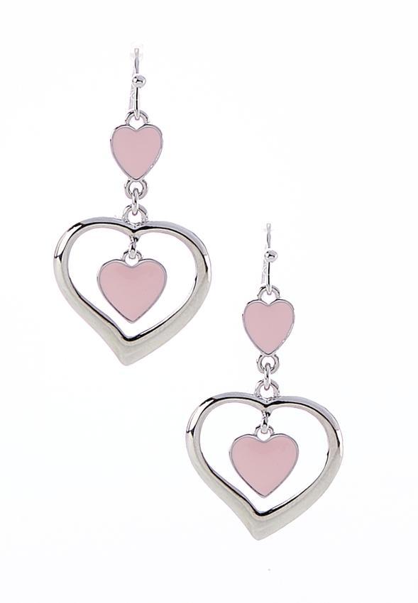 Tiered Heart Dangle Earrings