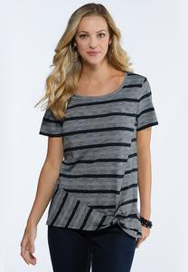 Stripe Twist Front Tee