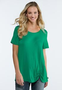 Plus Size Ruched Solid Tee