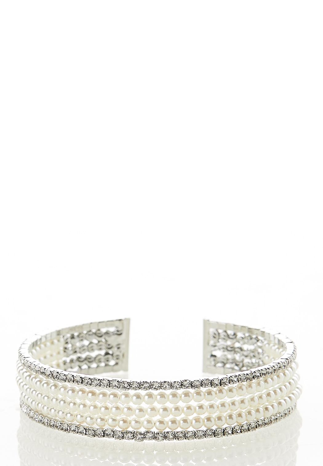 Pearl And Stone Cuff Bracelet