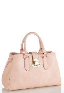 Faux Leather Lock Satchel